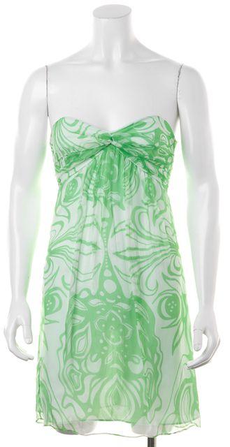 MILLY Mint Green Floral Print Silk Empire Waist Dress