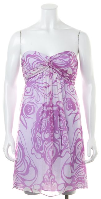 MILLY Lilac Purple White Abstract Print Silk Empire Waist Strapless Dress