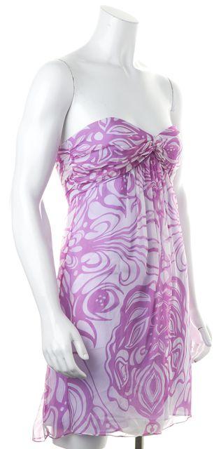 MILLY Lilac Purple White Floral Print Silk Empire Waist Strapless Dress