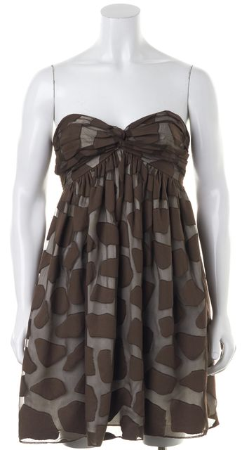 MILLY Chocolate Brown Animal Print Burnout Strapless Fit & Flare Dress