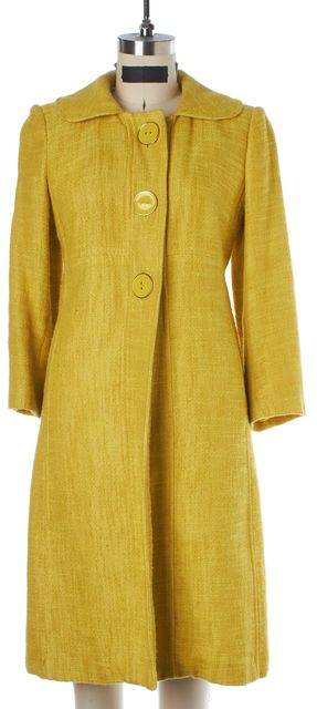 MILLY Yellow Tweed Long Jacket Skirt Suit Set