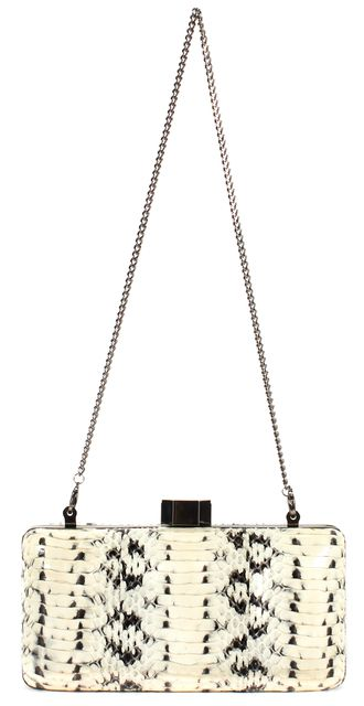 MILLY Ivory Black Snakeskin Gunmetal Chain Strap Clutch