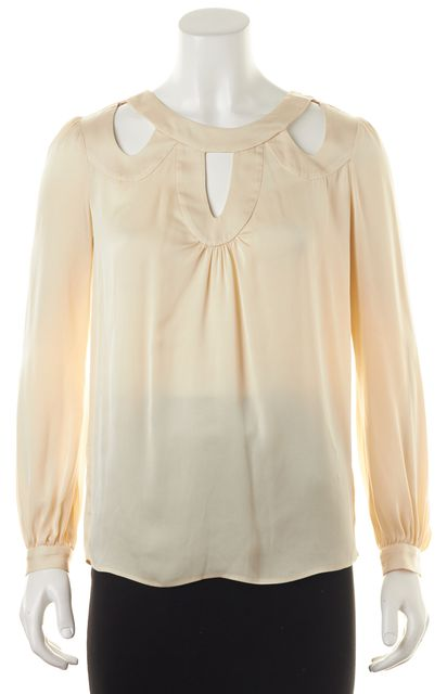 MILLY Ivory Silk Cutout Long Sleeve Blouse Top