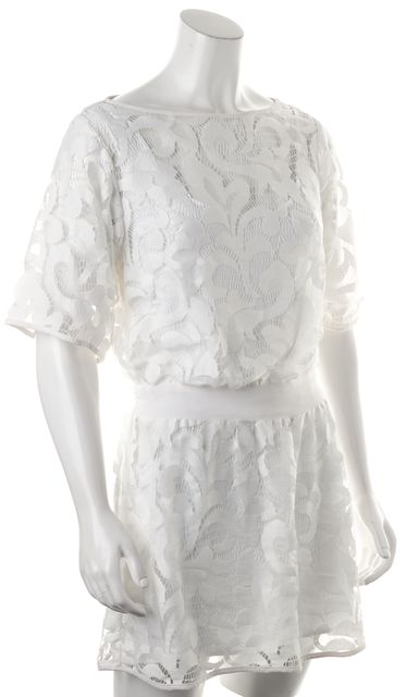 MILLY White Embroidered Net Overlay Floral Summer Dress