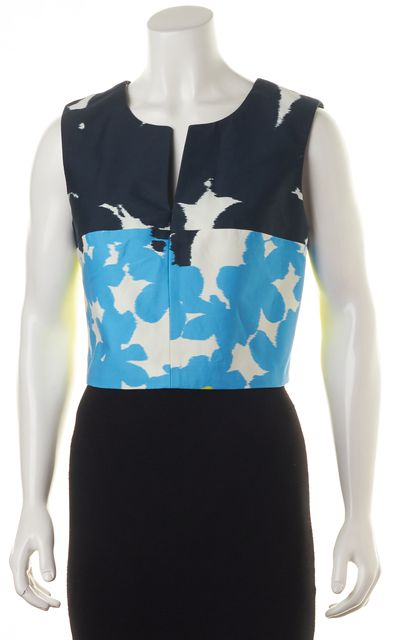 MILLY Blue White Neon Green Floral Colorblock Sleeveless Cropped Blouse Top