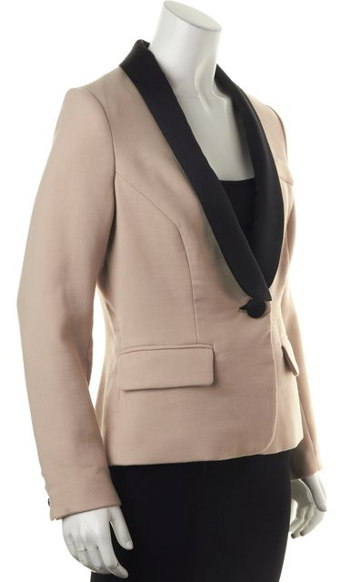 MILLY Beige Black Lapel Colorblock One Button Career Blazer