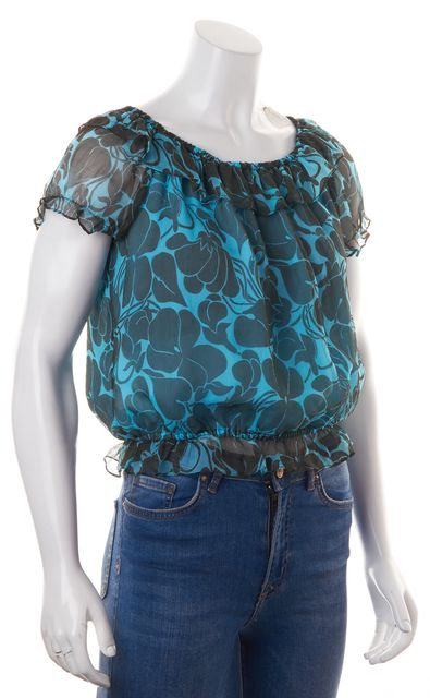 MILLY Blue Brown Floral Printed Crepe Silk Cropped Peasant Blouse Top