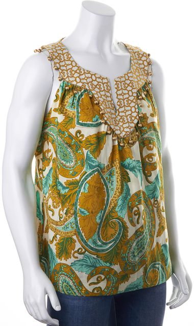 MILLY Green Ivory Paisley Printed Silk Embroidered Embellished Blouse Top