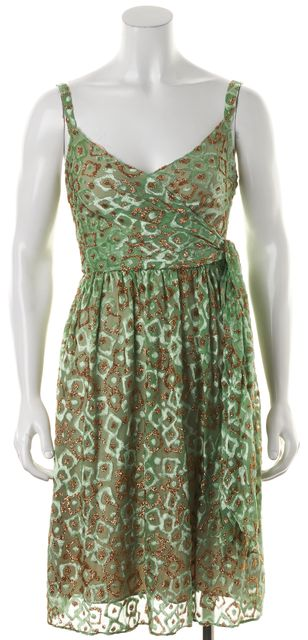 MILLY Green Gold Metallic Velvet Burnout Spaghetti Strap Blouson Wrap Dress