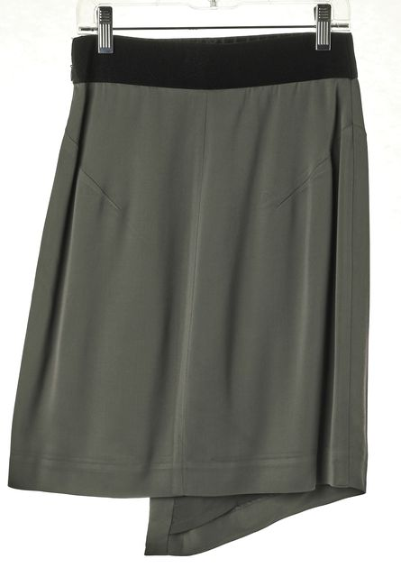 MILLY Gray Zip Front Asymmetrical Above Knee Straight Skirt