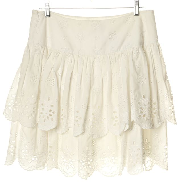 MILLY White Floral Eyelet Tiered Mini Skirt
