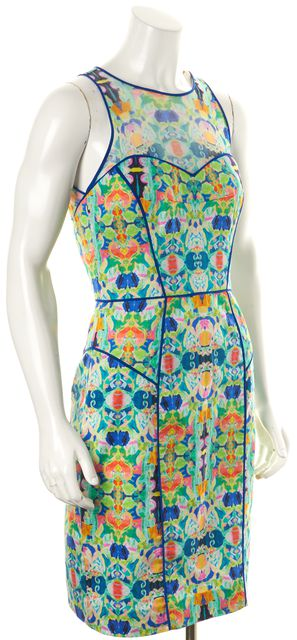 MILLY Multi-color Green Blue Abstract Sheath Dress