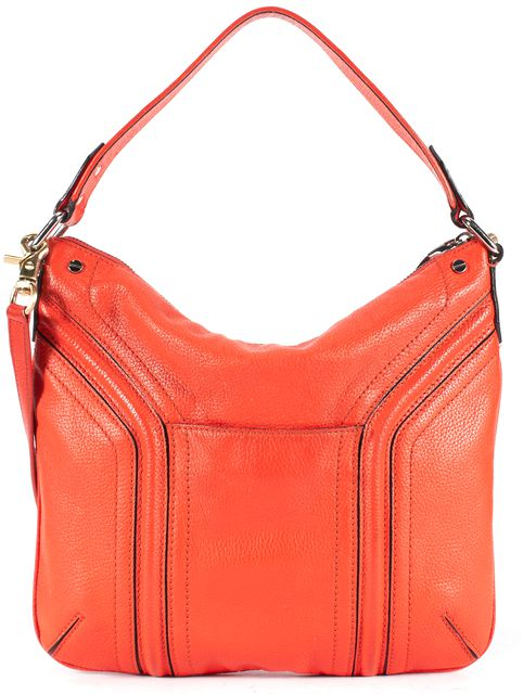 MILLY Orange Pebbled Leather Satchel Shoulder Bag