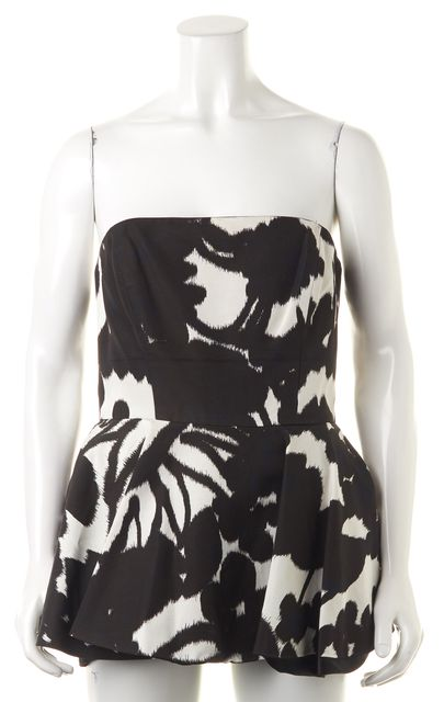 MILLY Black White Blue Abstract Strapless Mini Peplum Dress