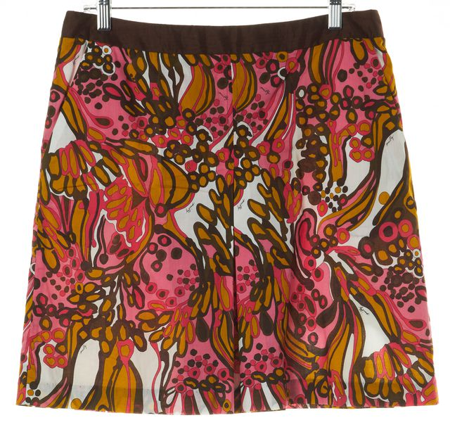MILLY Pink Brown Green Yellow Floral Print A-Line Skirt
