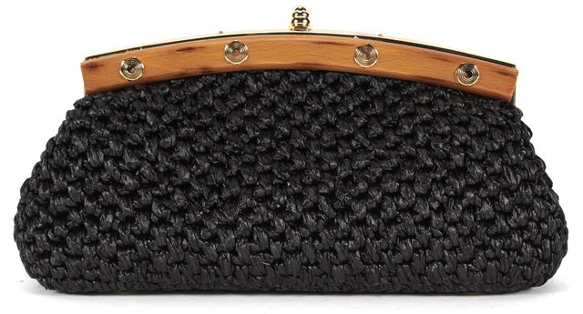 MILLY Black Woven Wooden Trim Vintage Style Clutch