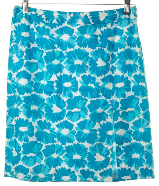 MILLY Blue White Floral Printed Cotton Front Slit Pencil Skirt