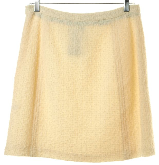 MILLY Ivory Wool Tweed Gold Tone Chain Trim Pencil Mini Skirt