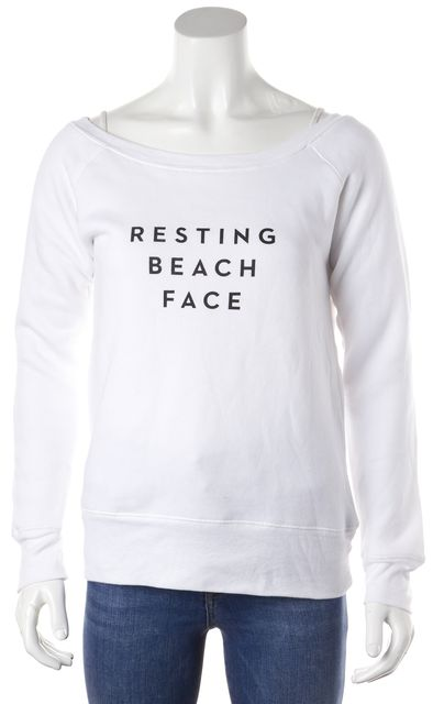 MILLY White Resting Beach Face Graphic Long Sleeve Cotton Boat Neck Sweater