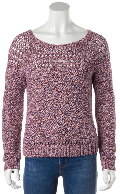 MILLY Pink Knit Cutout Boat Neck Sweater