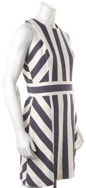 MILLY Navy Blue White Graphic Stripe Maya Sleeveless Sheath Dress