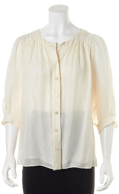 MILLY Ivory Floral Silk Flower Buttons 3/4 Sleeve Blouse Top