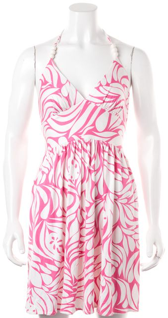MILLY Pink White Geometric Print Azalea Fit & Flare Halter Dress