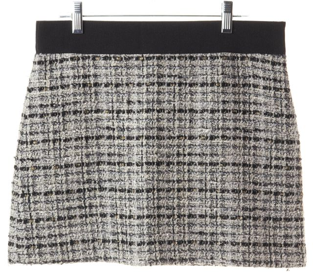 MILLY Gray Wool Tweed Mini Skirt