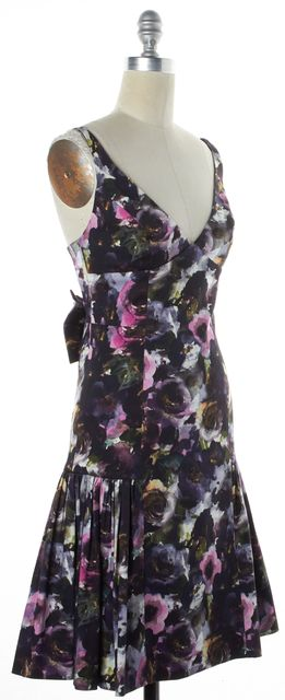 MILLY Purple Green White Watercolor Floral Fit & Flare Dress