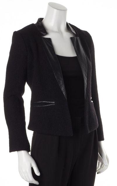 MILLY Black Wool Leather Trim Pocket Front Open Blazer