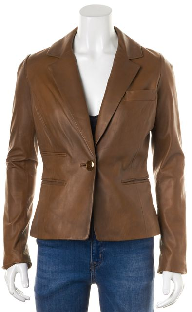 MILLY Brown Lamb Leather Single Button Blazer