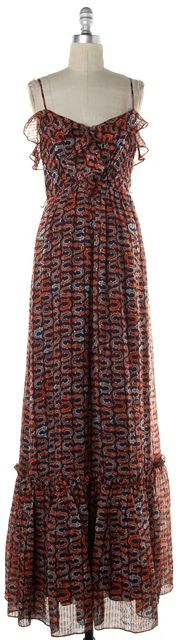 MILLY Orange Navy Koi Fish Print Ruffle Crepe Silk Maxi Dress