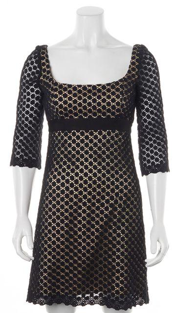 MILLY Black Beige Crochet Overlay 3/4 Sleeve Sheath Mini Dress