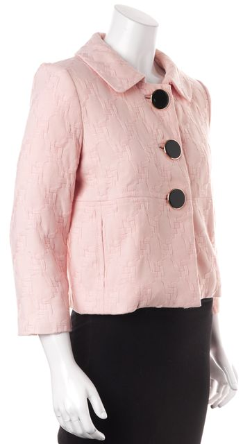 MILLY Pink Embroidered Wool Button Up Basic Jacket