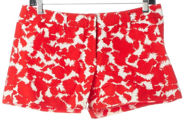 MILLY Red White Abstract Splatter Print Casual Shorts