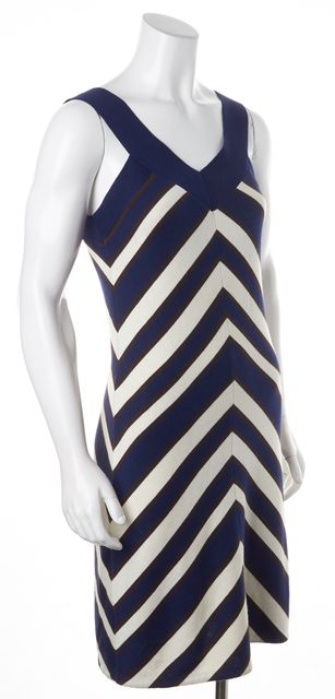 MILLY Navy Brown Cream Striped V-Neck Sleeveless Knit Shift Dress