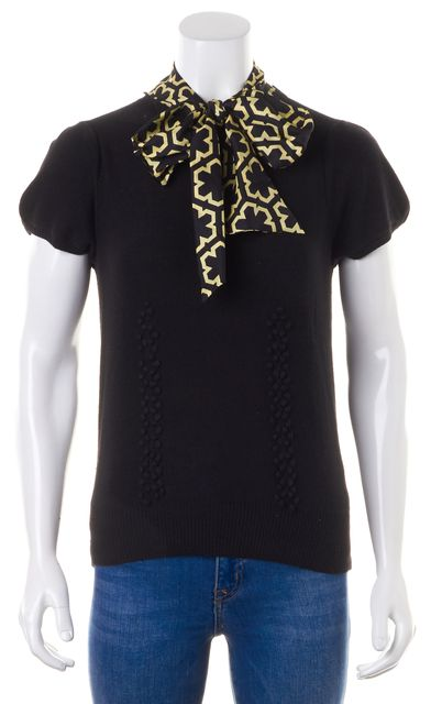 MILLY Solid Black Embellished Satin Silk Bow Collar Knit Top
