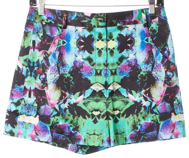 MILLY Blue Green Purple Psychedelic Floral True Waist Shorts