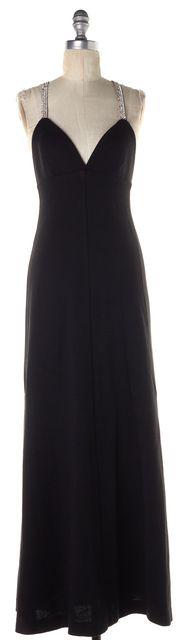 MILLY Black Embellished Spaghetti Strap Wool Maxi Empire Waist Dress