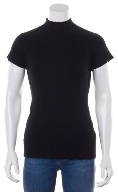 MILLY Black Ribbed Turtleneck Cap Sleeve Knit Top