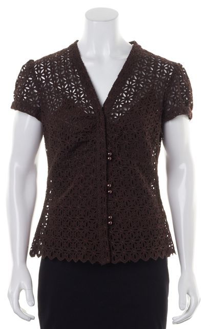 MILLY Chocolate Brown Floral Eyelet Cotton Semi Sheer Blouse Top