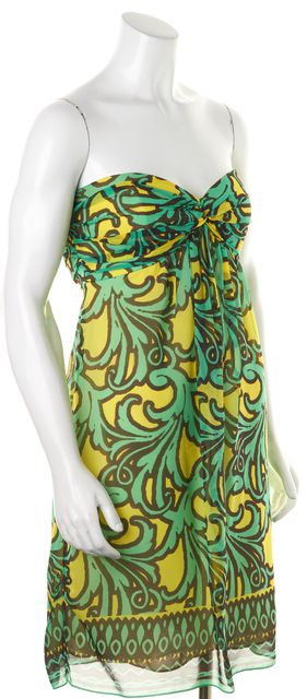 MILLY Green Yellow Black Abstract Print Crepe Silk Strapless Dress