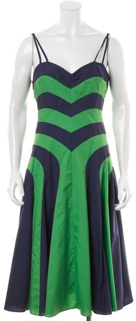MILLY Navy Blue Kelly Green Colorblock Spaghetti Straps Fit & Flare Dress
