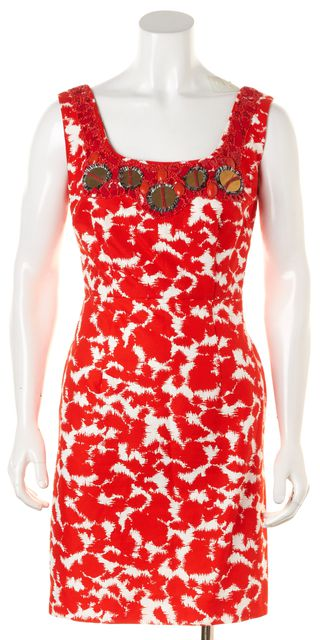 MILLY Red White Embellished Abstract Sleeveless Sheath Dress