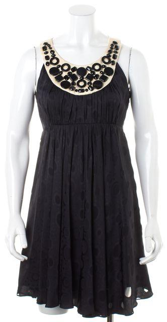 MILLY Black Embellished Silk Sleeveless Pleated Empire Waist Dress