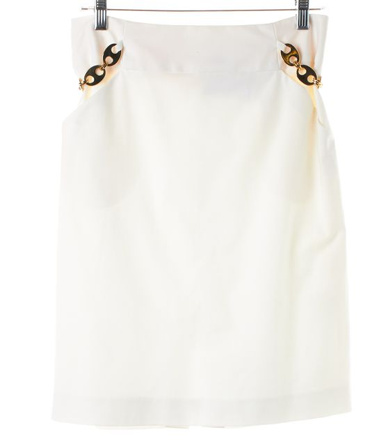 MILLY White Gold Side Chain Cotton Straight Skirt