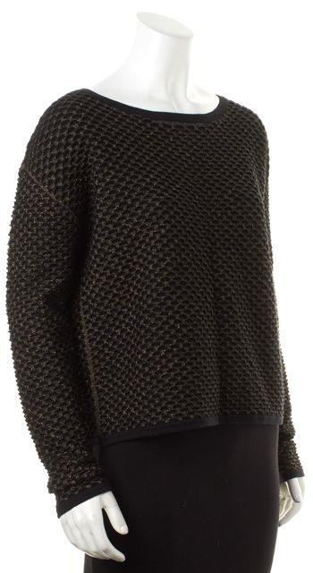 MILLY Black Gold Metallic Textured Wool Boat Neck Sweater