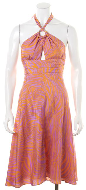 MILLY Orange Purple Zebra Print Silk Empire Waist Dress