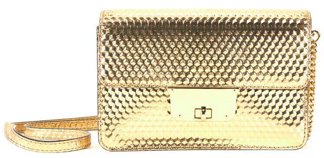 MILLY Gold Leather Geo Debossed Mini Crossbody Shoulder Bag