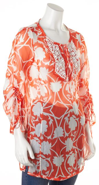 MILLY Orange White Floral Embellished Sheer Silk Blouse Top
